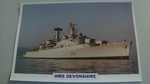 1960  HMS Devonshire Destroyer warship framed picture